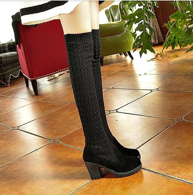 Women's Warm Round Toe Over Knee Boots Chunky Heel Knitted Pull On Suede shoes