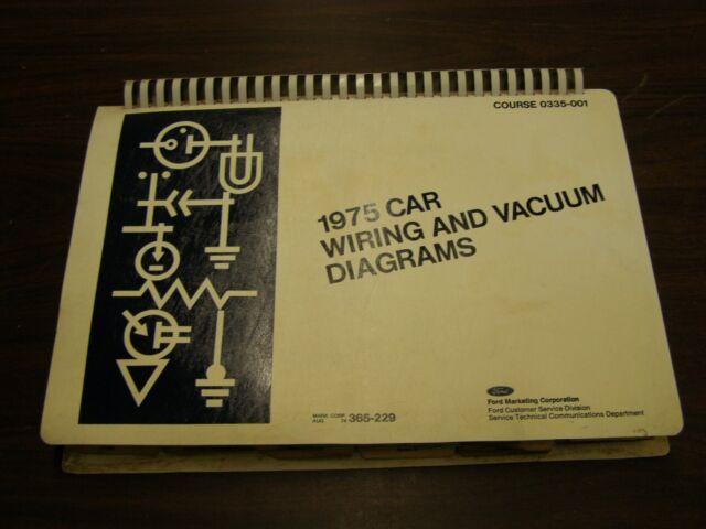 Oem Ford 1975 Wiring Diagram Book Mustang Ii Cougar Torino Maverick Lincoln Merc