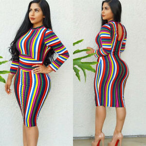 4460d25ced2 Image is loading Women-Long-Sleeves-Multicolor-Stripes-Bodycon-Club-Party-