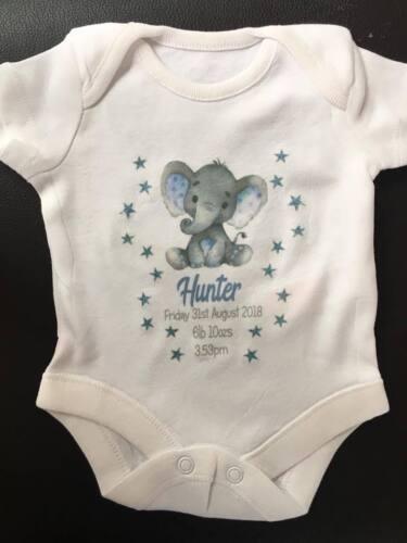 Personalised Elephant Baby Girl//Boy birth Announcement Bodysuit//vest