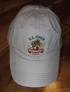 US-Open-2016-Oakmont-Baseball-Cap-Hat-Golf-USGA-Member-Gray-Strapback-EUC