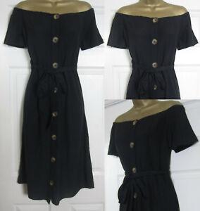 NEW-Next-Bardot-Off-Shoulder-Beach-Holiday-Dress-Cotton-Linen-Blend-Black-6-22