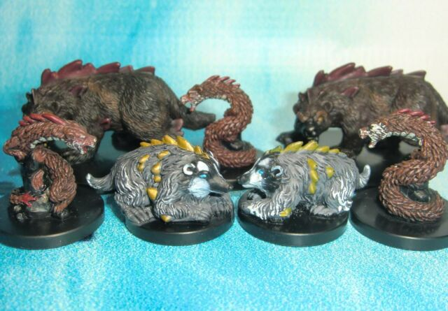 Dungeons & Dragons Miniatures Lot  Dire Badger Dire Weasel Dire Wolverine s114