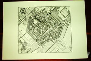Dueren-alte-Ansicht-Merian-Druck-Stich-1650-Vogelschau-Staedteansicht-Westfalen