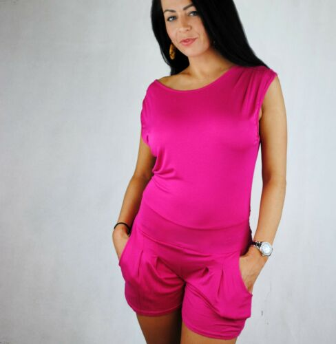 Femmes Jersey All in one short Combi Catsuit Beachwear Summer Cover Up 8 12