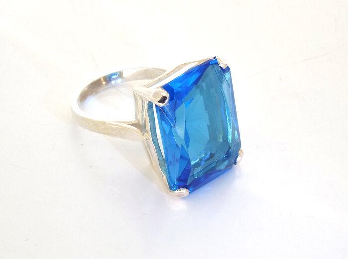 bluee topaz Ring Solitaire Ring Statement Ring Handmade Jewellery Quarter B'ham