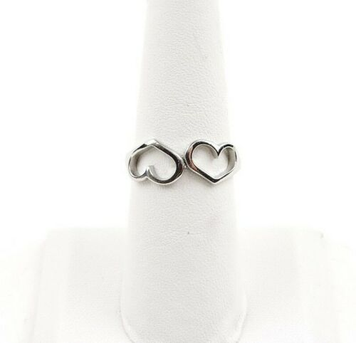Stainless Steel Polished Double Heart Ring Free Gift Packaging