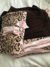 Pink/Brown Leopard with Pink Satin Duvet, plus 3 Shams  Full size bed
