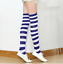 9-11 Patriotic Rugby Stripe Nautical Blue White Striped Over the Knee Socks