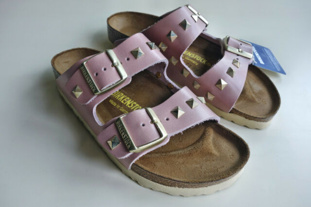 new BIRKENSTOCK Leather Sandals Slide ARIZONA Pyramids studded Rose US9 EU40 UK7