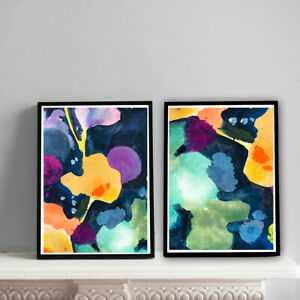 Home-Prints-A4-Abstract-Bright-Watercolour-Gift-Wall-Art-NO-FRAME