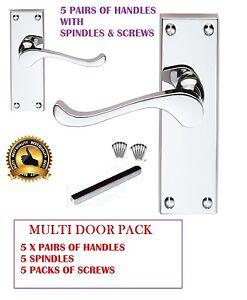 Set of 8 Polished CHROME Victorian Scroll Lever Latch Internal Door Handles D15