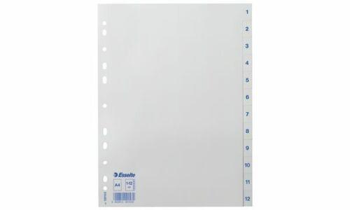 A4 #10xEsselte Kunststoff-Register weiß 1-12 Zahlen