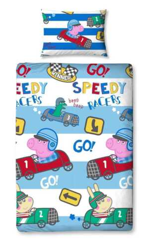 PEPPA PIG GEORGE SPEED SINGLE DUVET QUILT COVER /& PILLOWCASE SET KIDS BEDROOM