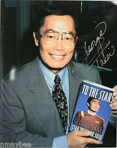 "George Takei as Sulu in Star Trek Autographed 8x10 Photo w/ book ""To The Stars"""