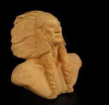Sculpture buste Chef Cheyenne  Dull Knife bust indien indian signé Bernard 1943