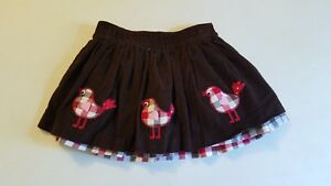 Girls Kelly's Kids Reversible Skirt 3-4 3t 4t Brown Red Beige Fall Birds Hearts Handsome Appearance Clothing, Shoes & Accessories