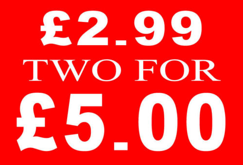 £ 2.99 due per £ 5 STERLINE vendita ferrovia segno CARD RETAIL SHOP display-high qualità