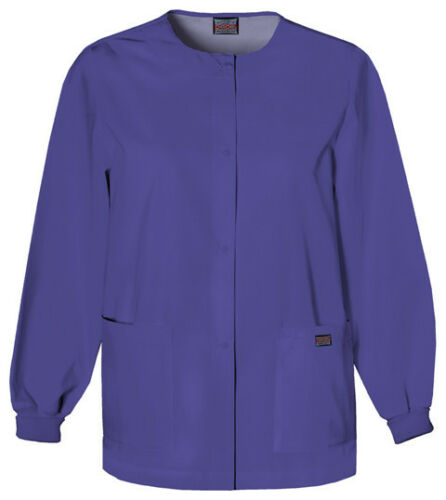 Grape Cherokee Scrubs Workwear Snap Front Warm Up Jacket 4350 GRPW