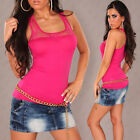NEW SEXY LADIES SINGLET TANK CAMI TOP SZ 6 8 10 WITH LACE ~ CASUAL/CLUB/PARTY -