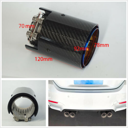 70MM Glossy Grilled Blue Real Carbon Fiber+Stainless Steel Car Exhaust Tip Pipe