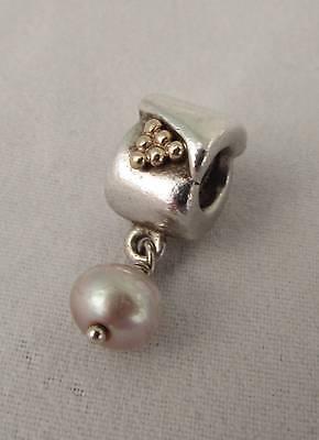 Genuine Pandora two tone Gold Silver Charm Golden Grapes & dangle Pearl 790324NP