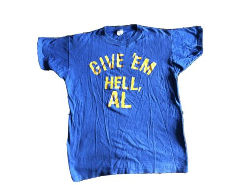 """Vintage 1960s Spruce Brand Tshirt """"Give Em Hell, A"""