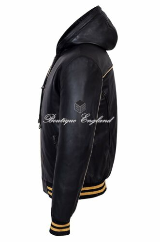 BASEBALL BLACK Men/'s Hoody Slim Fit Stylish Hip Hop Italian Leather Jacket 4486