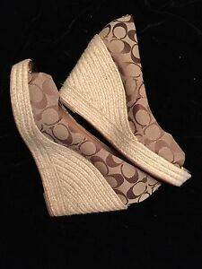 9e12161a390 COACH Brown/Tan Print-Canvas *MILAN* Espadrille Wedge Shoes Sz 10 | eBay