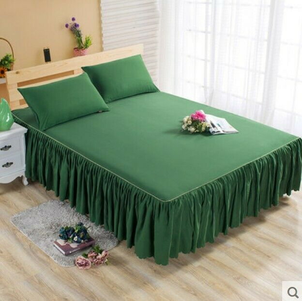 Grün Single Ruffle Bedding Bed Spreads Cover Sheet Valance Bed Skirt 0.7X1.9M