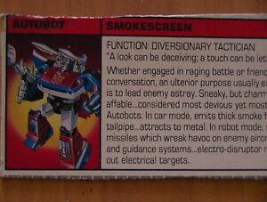 Transformers-G1-VINTAGE-1985-Smokescreen-Hasbro-Tech-Specs-File-Card-C-6-Cond