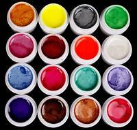 16 Color Pearl Uv Builder Gel Kit For Nail Tips Art Beauty Salon Us Seller
