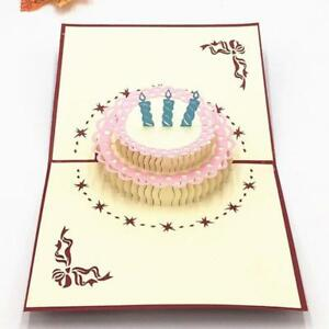 3d Paper Pop Up Greeting Card Handmade Happy Birthday Cake Candle