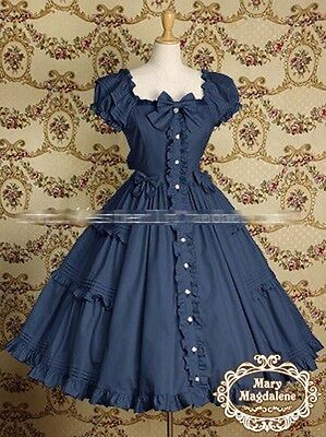 Free!Lolita Simple daily  Dress Short Sleeve Cotton Cosplay Dress Costume NEW