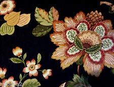 "Croscill SUSANNA Pole Top DRAPES Black Sage Gold Persimmon Cotton Floral 84"""