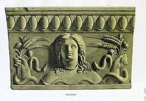 Ancient-Rome-Terracotta-Tile-Plate-XVI-Orig-Folio-Lithograph-Campana-Relief-1851