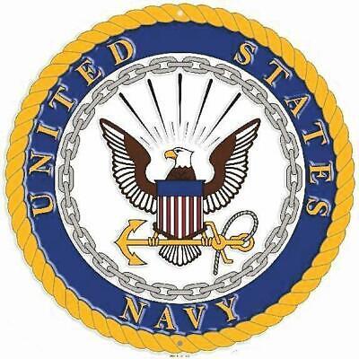 """United States Marine Corps USMC 12/"""" Round Metal Sign Embossed Patriotic Decor"""