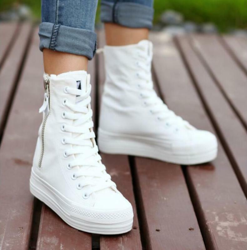 Korea New Womens side zip Canvas platform High top Fashion sneakers shoes Casual
