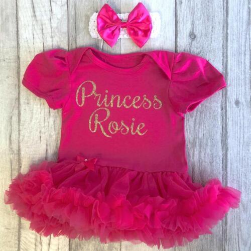 nombre de Oro Brillo Princesa Vestido de color de rosa caliente Personalizado Princesa Tutú Mameluco
