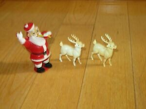 Vintage-Christmas-Rosbo-Santa-Claus-Figure-Candy-Container-Reindeer-T523