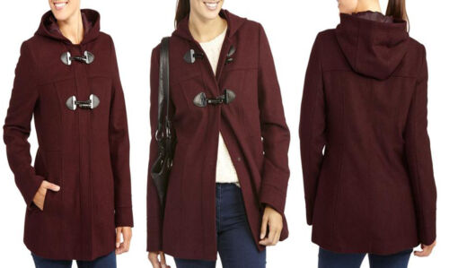 Women coat blazers George UK Women/'s Faux Wool Hooded Toggle peacoat  2 6 10 14