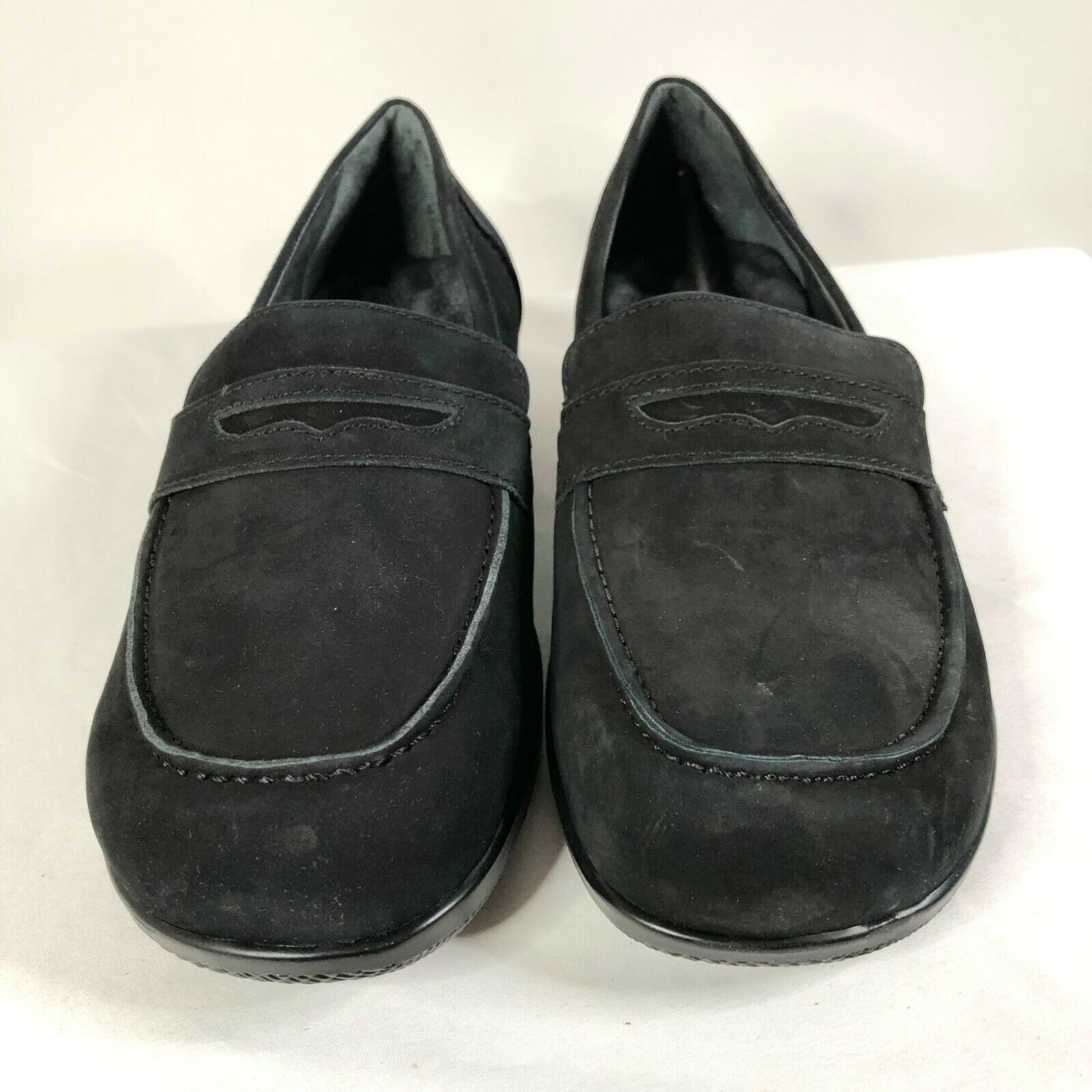 SoftWalk Womens Loafers Slip On Faux Suede Cushioned Insole Black 10WW Wide