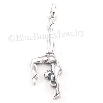 .925 Sterling Silver Gymnast Charm Pendant