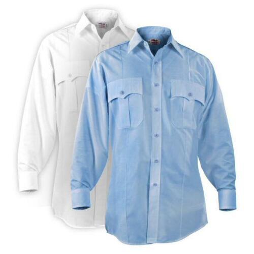 Men/'s Blue and White P877 P878 Elbeco Paragon Plus Long Sleeve Shirts