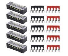 5pc Dual Row 5 Position Screw Terminal Electric Barrier Strip Block 600V 15A