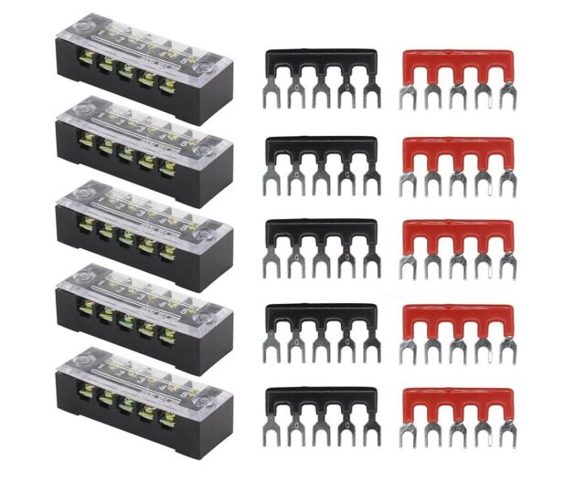 600V 15A 3P-5Pack uxcell 4 Pcs Dual Rows 600V Cable Barrier Block Terminal Strip