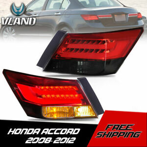 VLAND LED Tail Lights Red Smoked Rear Lamps For 2008-2012 Honda Accord 4 Door