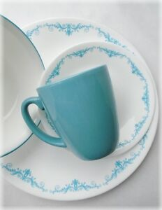 Image is loading 16pc-Corelle-GARDEN-LACE-Dinnerware-Set-TEAL-BLUE- & 16pc Corelle GARDEN LACE Dinnerware Set *TEAL BLUE Turquoise ...