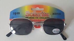 MENS SILVER SOLARITE ACRYLIC SUNGLASSES RETRO CLASSIC UV 100/% 156#