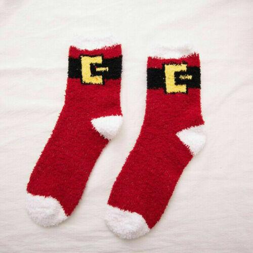 Mens Women Christmas Socks Fluffy Soft Warm Winter Xmas Ladies Girls Stocking